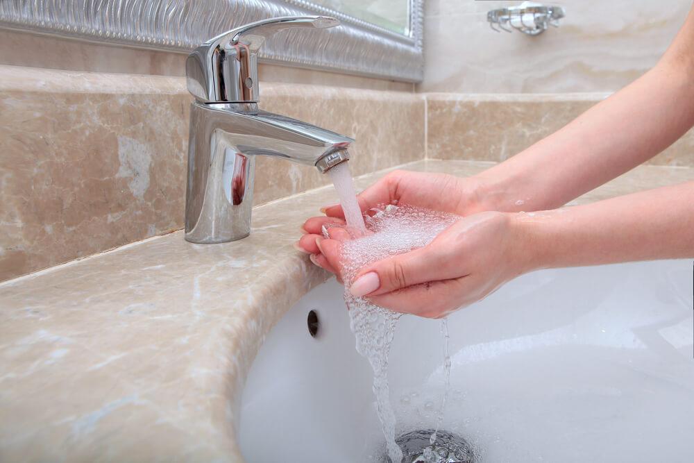 水はね対策をしている洗面所